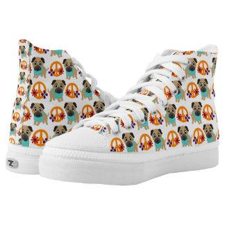 Pugs and Peace Symbols High-Top Sneakers