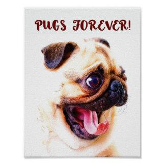 """Pugs forever!"" poster for crazy pug-lovers"