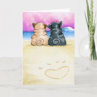 Pugs In Love Holiday Card