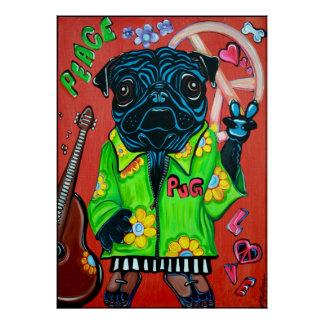 Pugs Love Peace Poster