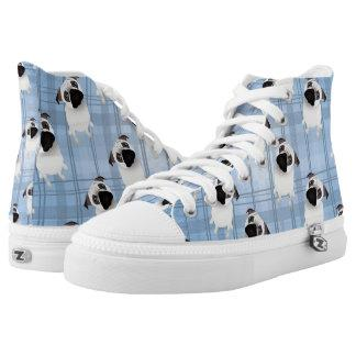 Pugs on Blue PLaid High-Top Sneakers