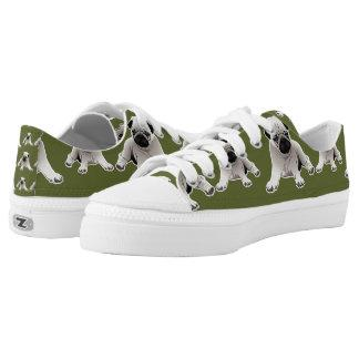 Pugs on Green Background Low-Top Sneakers