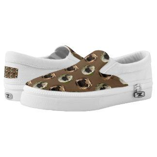 Pugs polka dot custom background Slip-On sneakers