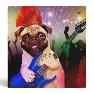 Rock dog - pug party - pug guitar - dog rocker binder
