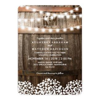 Rustic Country Baby's Breath String Lights Wedding Card