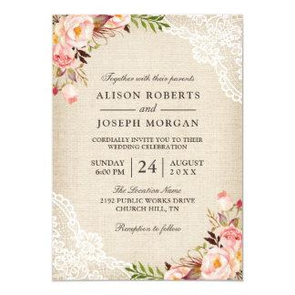 Rustic Country Classy Floral Lace Burlap Wedding Invitation