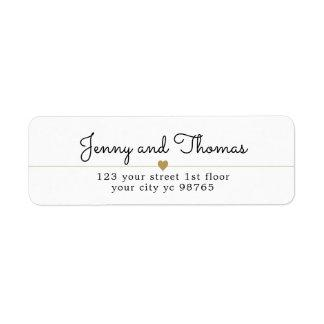 Simple Elegant White Gold Heart Line Wedding Label