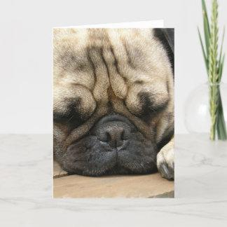 Sleeping Pug Greeting Card