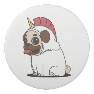 Smiling Cartoon Pug in a Unicorn Costume Eraser