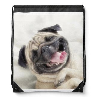 Smiling pug.Funny pug Drawstring Backpack