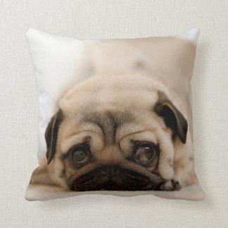 Tan Female Pug Throw Pillow