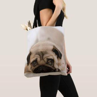 Tan Female Pug Tote Bag