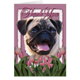 Thank You - Pink Tulips - Pug Card