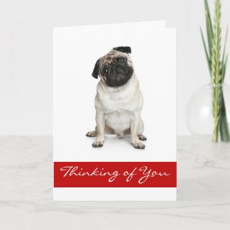 Thinking of You Pug Puppy Dog Greeting Card