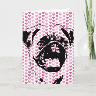 Valentines - Pug Silhouette Holiday Card