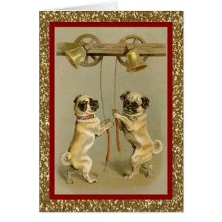 vintage pugs ringing new year bells card