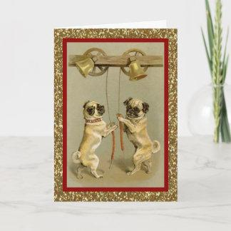 vintage pugs ringing new year bells holiday card