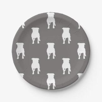 White Pug Silhouettes on Grey Background Paper Plate