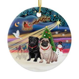 Xmas Magic - Pugs (TWO-fawn black) Ceramic Ornament