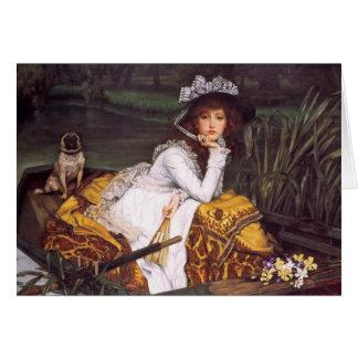 Young Lady & Her Pet Pug in a Boat by James Tissot Card